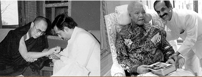 Dr. Pankaj Naram con il Dalai Lama e Nelson Mandela